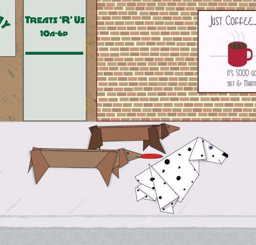 illustration of dogs on sidewalk