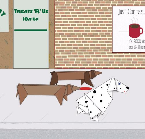 illustration of dogs on sidewalk